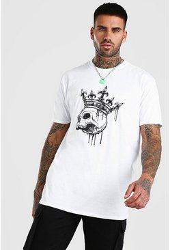White Oversized Skull Crown Print T-Shirt