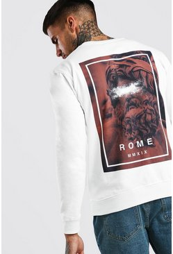 White Graffiti Statue Back Print Sweatshirt