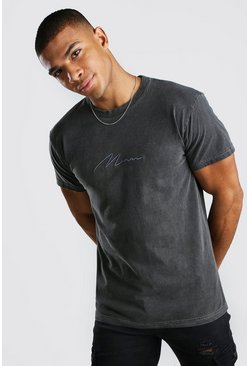T-shirt sur-teint MAN Signature, Anthracite