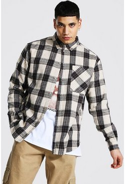 Oatmeal Oversized Check Shirt