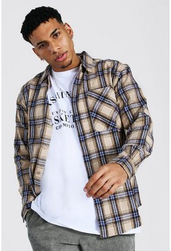 Beige Oversized Check Shirt