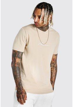 Taupe MAN Signature Embroidered T-Shirt