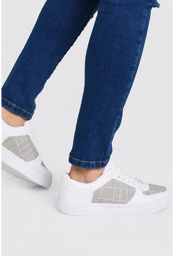 White Checkerboard Emboss Sneakers