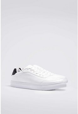 White Lace Up Heel Tab Sneakers