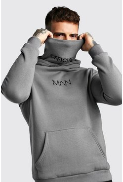 MAN Official Hoodie aus Jersey mit Loop-Schal, Anthrazit