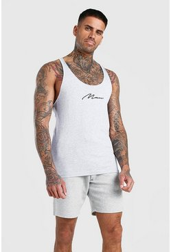 Grey marl MAN Signature Racer Back Vest