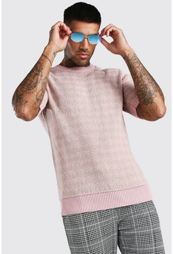 Dusky pink Regular Fit Houndstooth Knitted T-Shirt