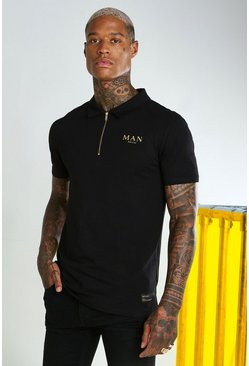 Black MAN Gold Muscle Fit Zip Neck Polo
