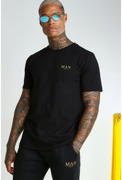 Black MAN Gold T-Shirt With Back Tape Detail
