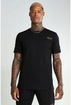 Black Muscle Fit MAN Gold T-Shirt With Sleeve Tape