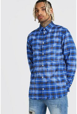 Blue Long Sleeve Bleached Check Shirt