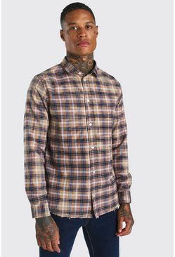 Beige Long Sleeve Bleached Check Shirt