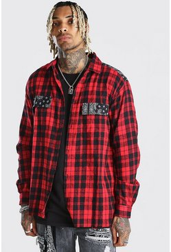 Red Long Sleeve Flannel Shirt With Bandana Panel
