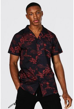 Black Short Sleeve Revere Collar Oriental Shirt