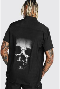 Black Short Sleeve Skull Back Print Shirt