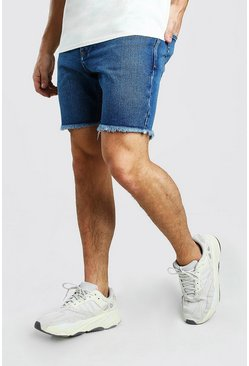 Mid blue Slim Fit Denim Short With Distressed Raw Hem
