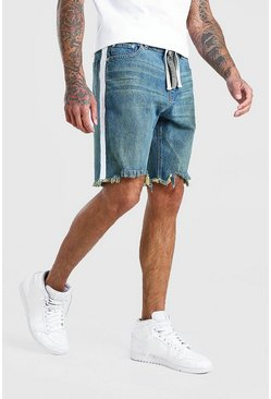 Vintage blue Loose Fit Frayed Hem Jean Shorts With Belt