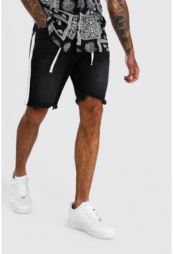 Washed black Loose Fit Frayed Hem Jean Shorts With Belt