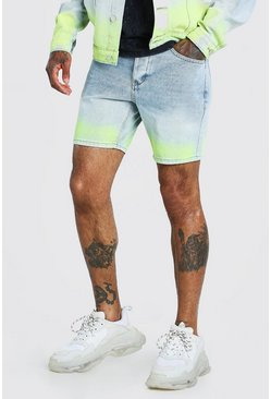 Light blue Slim Fit Ombre Spray Paint Denim Short