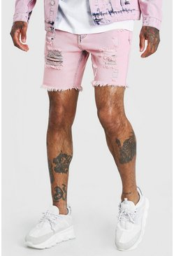Pink Acid Wash Distressed Denim Short
