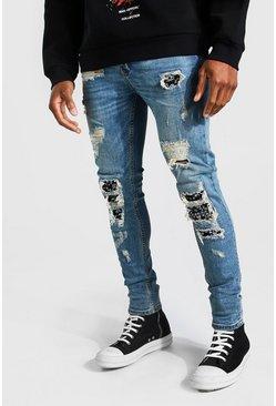 Blue Super Skinny Bandana Biker Rip & Repair Jeans