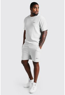 Light grey Plus Size MAN Script T-Shirt Short Set