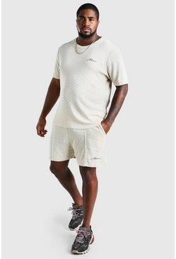 Stone Big And Tall Chevron Knit T-Shirt And Short Set