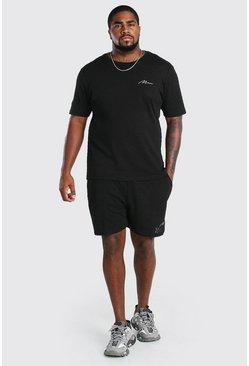 Black Big And Tall Chevron Knit T-Shirt And Short Set
