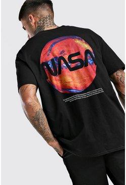 Black Oversized NASA Back Print License T-Shirt
