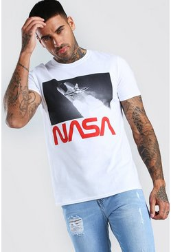 White NASA Rocket Print License T-Shirt