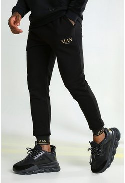Black MAN Gold Skinny Fit Joggers With Taped Cuff