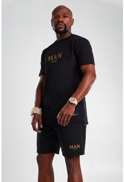 Black MAN Gold T-Shirt And Short Set
