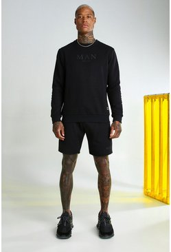 Black MAN Gold Short Sweater Tracksuit With Tape