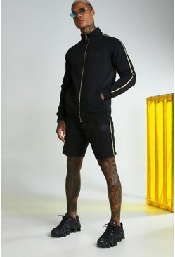 Black MAN Gold Funnel Neck Short Tracksuit
