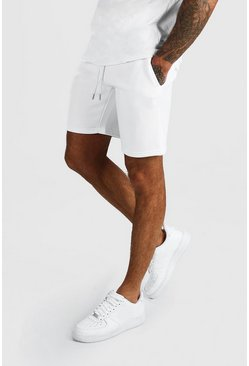 Short en jersey mi-long basique, Blanc