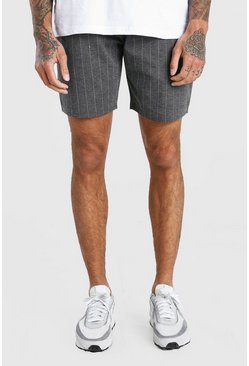 Grey MAN Pinstripe Jacquard Mid Length Shorts