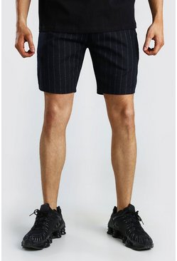 Navy MAN Pinstripe Jacquard Mid Length Shorts