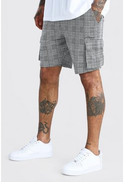Black MAN Check Jacquard Cargo Mid Length Shorts