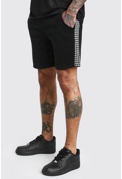 Black MAN Dogtooth Check Panel Mid Length Shorts