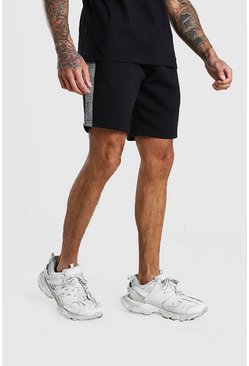 Black MAN Jacquard Check Panel Mid Length Shorts