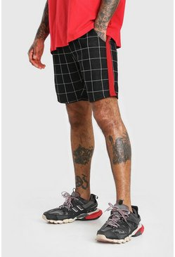 Black Windowpane Jacquard Tape Detail Mid Length Shorts