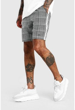 Black MAN Roman Tape Jacquard Mid Length Shorts