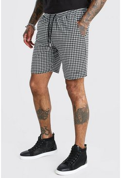 Black Dogtooth Jacquard Mid Length Shorts