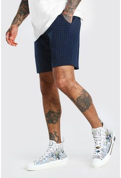 Navy Dogtooth Jacquard Mid Length Shorts