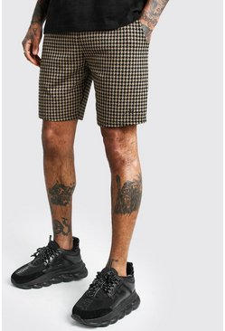 Brown Dogtooth Jacquard Mid Length Shorts