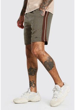 Brown MAN Dogtooth Jacquard Tape Detail Mid Length Shorts