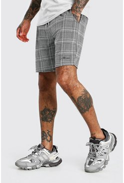 Black MAN Check Jacquard Mid Length Shorts