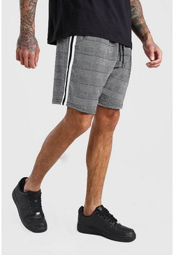 Black MAN Check Jacquard Tape Detail Mid Length Shorts