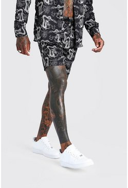 Black Dragon Print Shorts