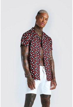 Black Short Sleeve Suits Print Shirt